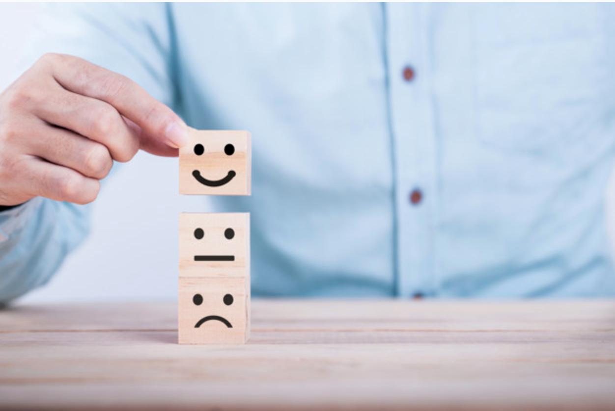 Smiley ,sad face wooden block